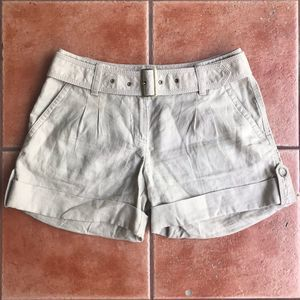 Ann Taylor Belted 100% Linen Tan Rolled Shorts 2